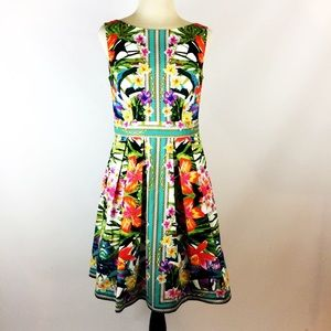 Maggy London tropical floral fit flare party dress